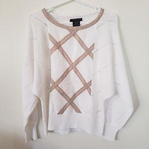 VINTAGE dolman sleeve white sweater size Large